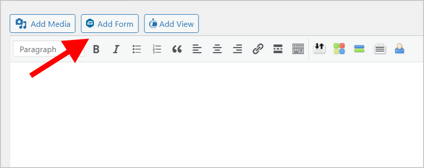 """The """"Add Form"""" button above the WordPress classic text editor"""