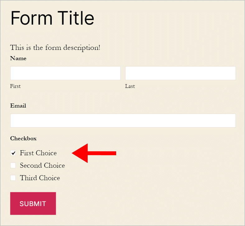A form on the front end containing a checkbox field where the first option is already checked