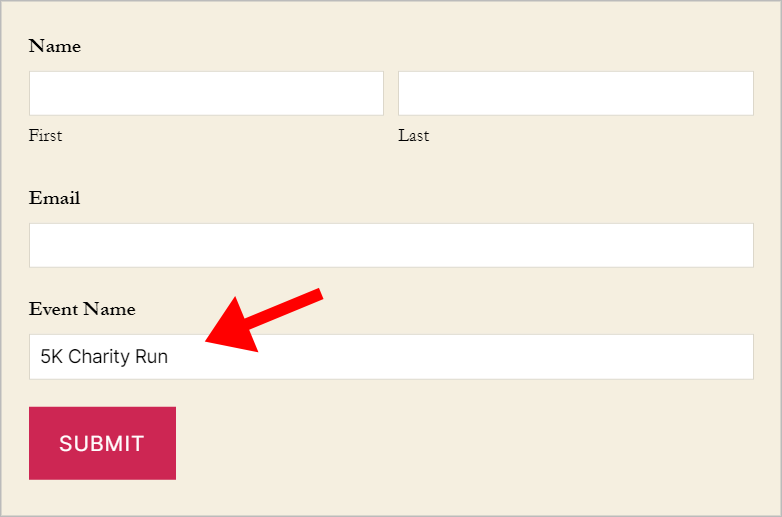 A form on the front end with the 'Event Name' field prepopulated with the text '5K Charity Run'