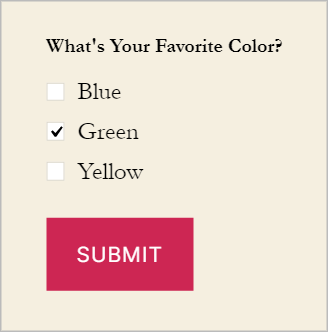 A checkbox field asking 'what's your favorite color'. The option 'green' is checked.