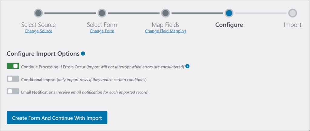 The Configure Import Options screen in Import Entries.