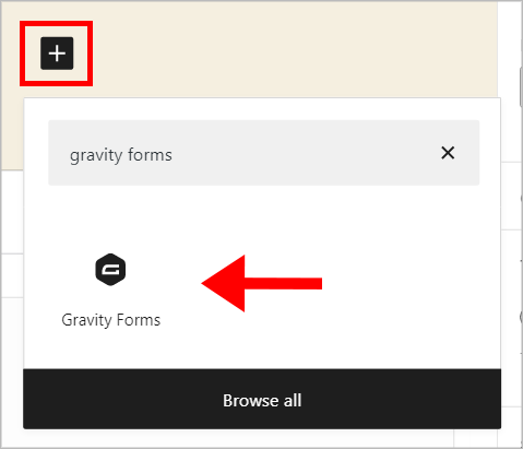 An arrow pointing to the 'Gravity Forms' block in the WordPress block editor