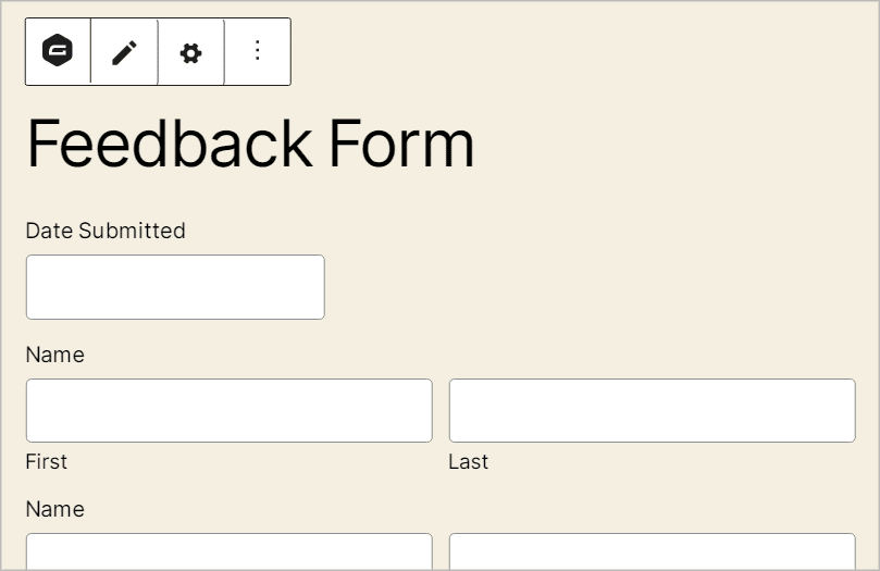 A preview of the Gravity Forms in the WordPress block editor