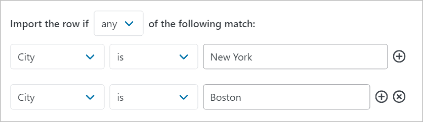 Import row if the City is New York OR the City if Boston
