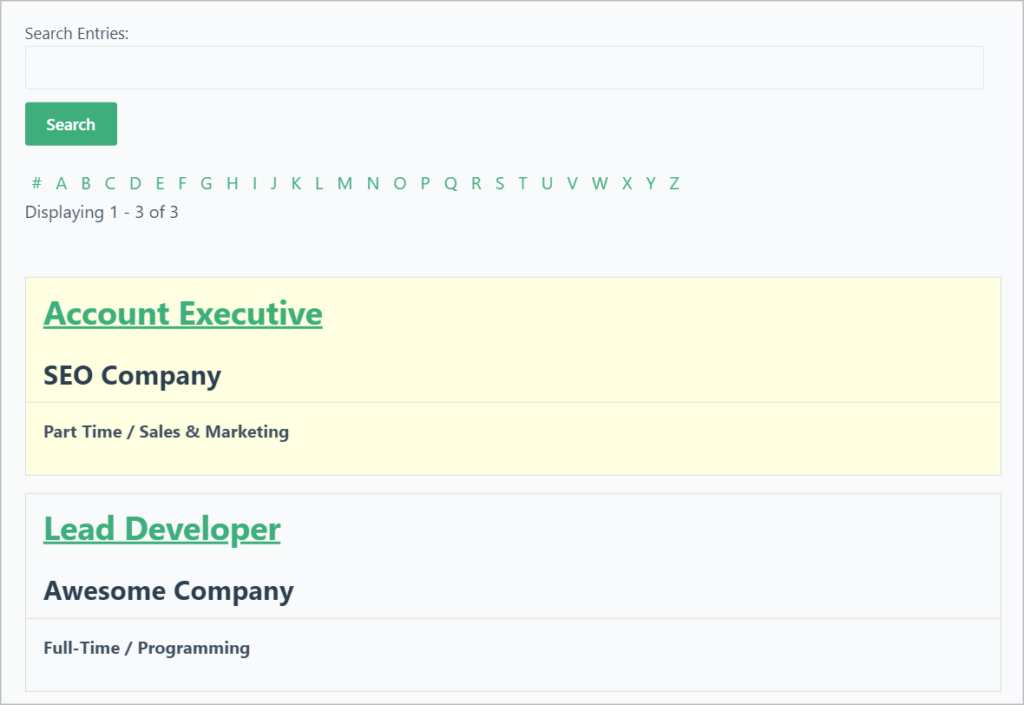 A WordPress job board with a search bar at the top, A-Z links for filtering and a featured listing at the top highlighted in yellow.