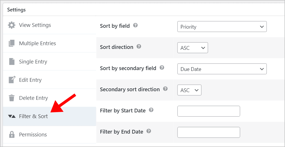 An arrow pointing to the 'Filter & Sort' tab in the GravityView Settings