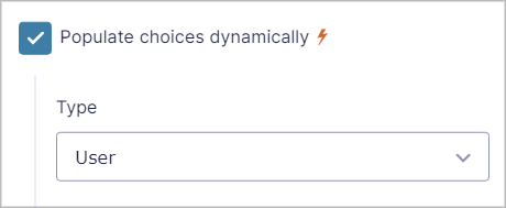 A checkbox that says Populate choices dynamically