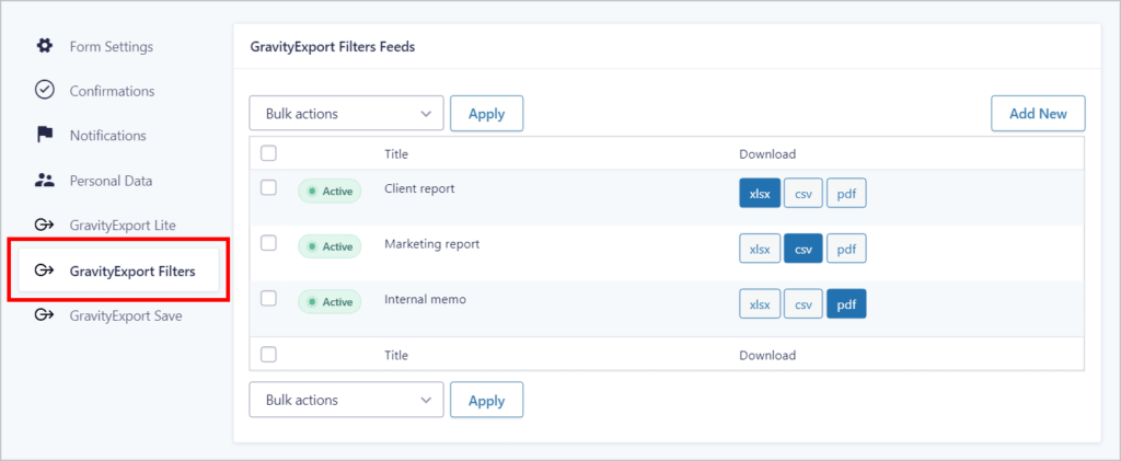 The GravityExport Filters page