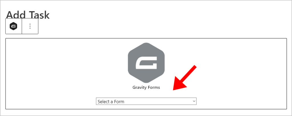 The Gravity Forms block in Gutenberg with an arrow pointing to the 'Select a Form' dropdown