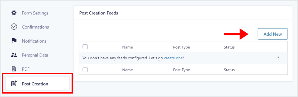 An arrow pointing to the 'Add New' button on the Post Creation Feed page