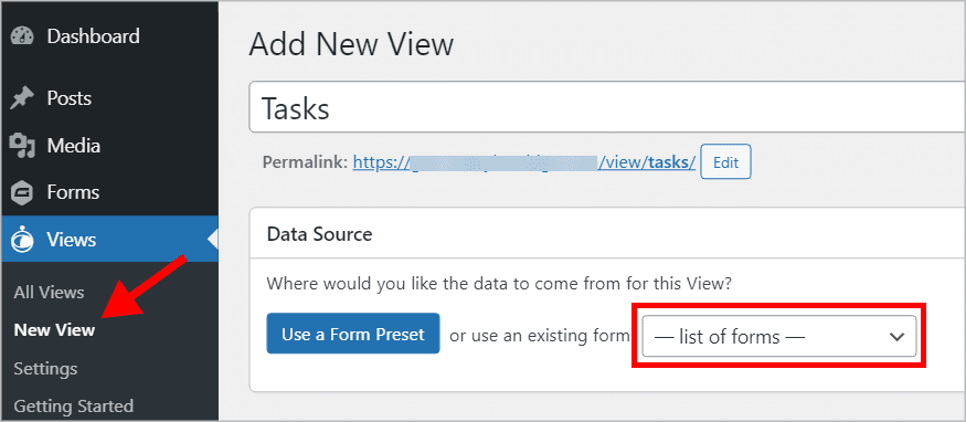 The 'Add New View' page in GravityView