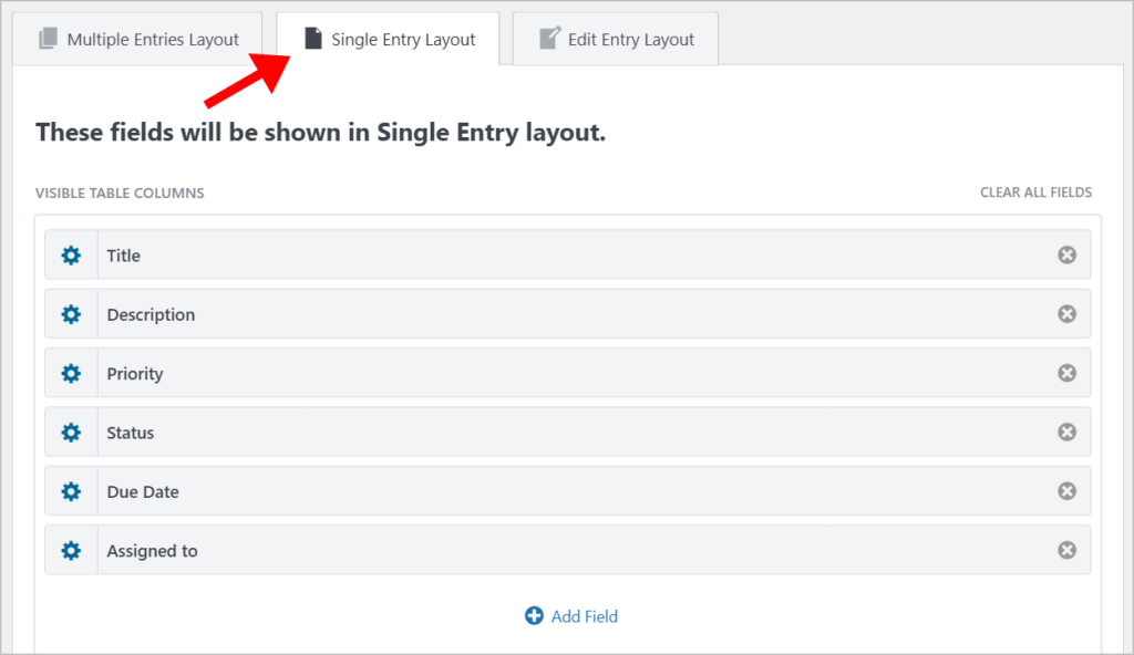 The GravityView Single Entry Layout containing different fields